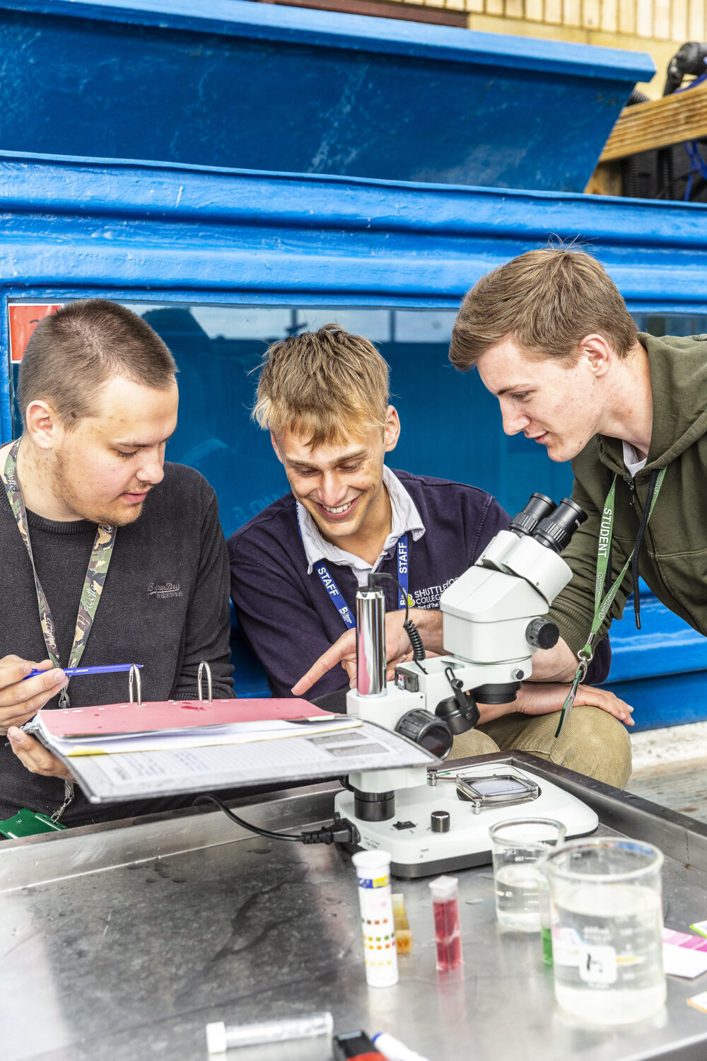 Fish Management Shuttleworth College students and tutor