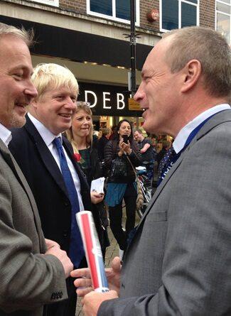 Ian Pryce CBE with Bedford MP and Boris Johnson