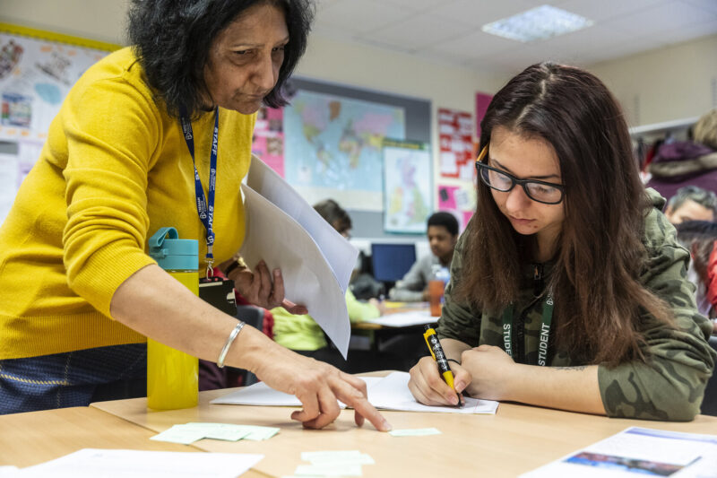 ESOL student and tutor in class Tresham College