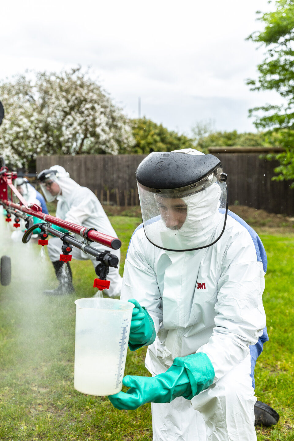 Agriculture students with sprayer Shuttleworth College