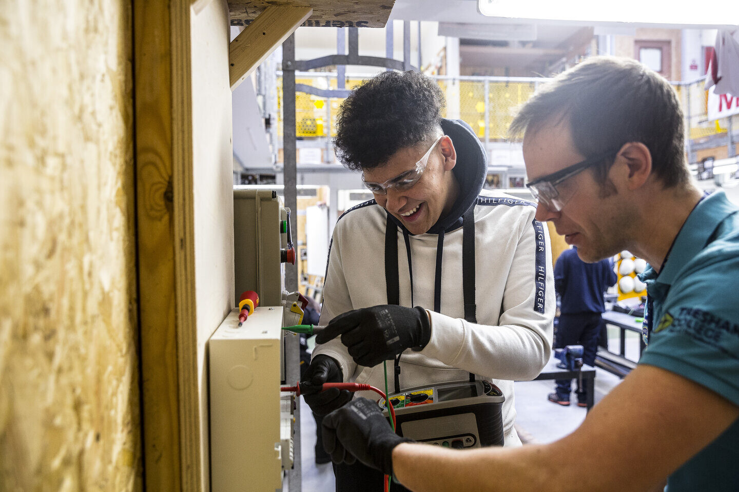 Electrical Installation student and tutor Tresham College