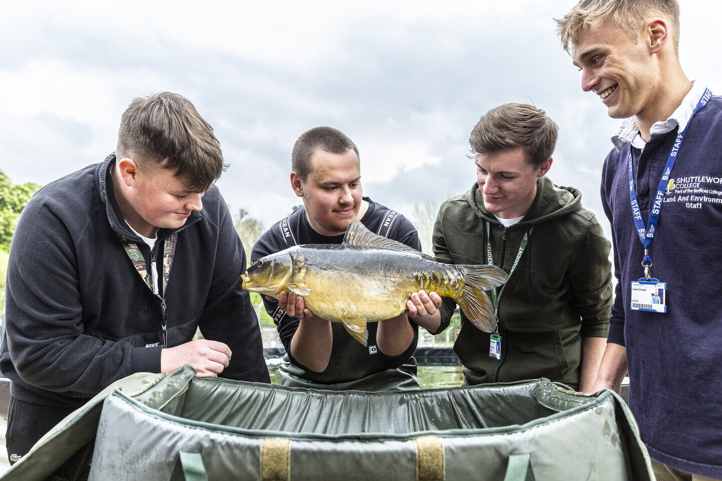 Fish Management students and tutor Shuttleworth College