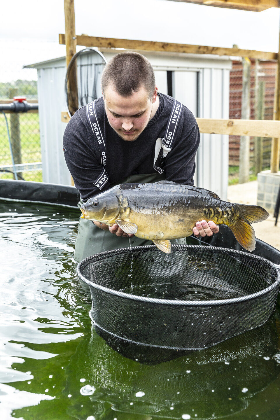 Fisheries student holding fish Shuttleworth College