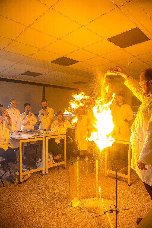 Science experiment Tresham College students