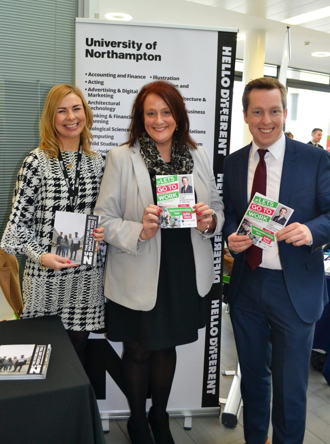 Corby MP with Karen Campbell and rep from Uni of Northampton at Careers Fair