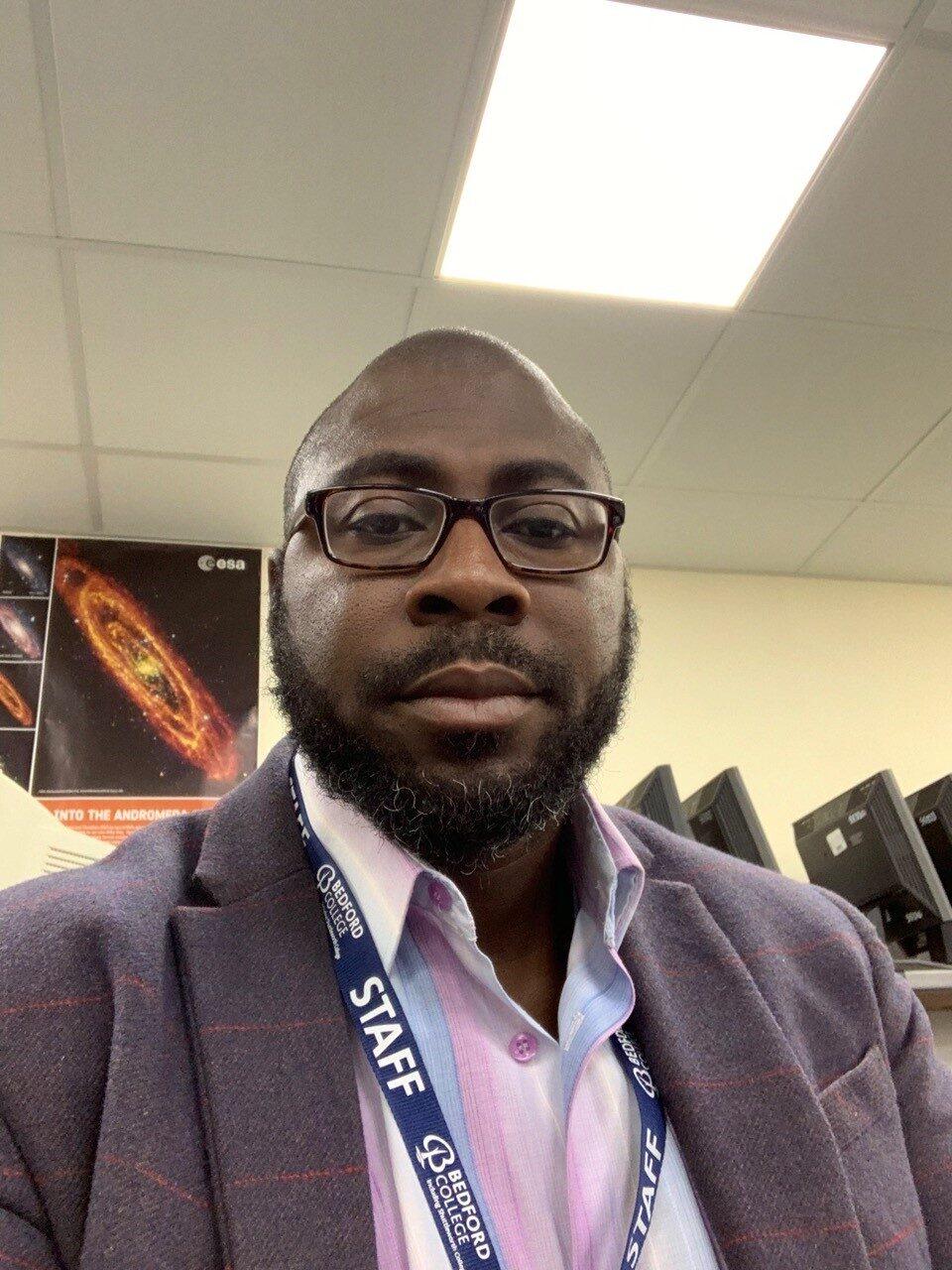Bedford College Computing tutor Paul Mensah